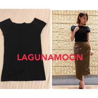 LagunaMoon - LAGUNAMOON ショートスリーブオフショルKNITプルオーバー(ブラック)