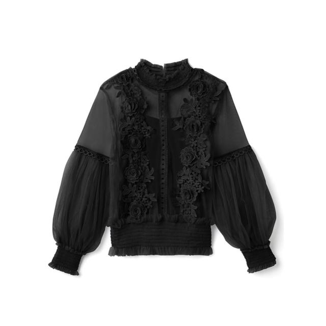 GRL(グレイル)のGRL キャミソール付きフラワーチュールブラウス 新作 韓国ファッション 上品 レディースのトップス(シャツ/ブラウス(長袖/七分))の商品写真