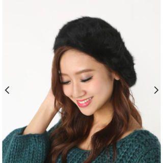 リエンダ(rienda)のrienda♡ふわふわベレー帽♡ブラック(ハンチング/ベレー帽)