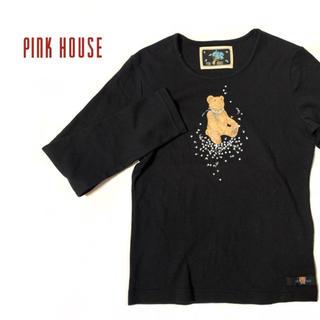 ピンクハウス(PINK HOUSE)の美品 ピンクハウス 長袖Tシャツ くま 黒ロンT 古着女子(Tシャツ/カットソー(七分/長袖))