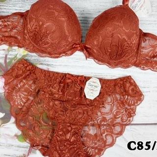 193★C85 LL★盛りブラ レースバックショーツ 美胸 2WAYパッド 茶系(ブラ&ショーツセット)