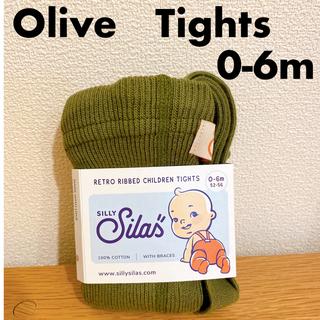コドモビームス(こども ビームス)のシリーサイラス silly silas オリーブ タイツ 0-6m(靴下/タイツ)
