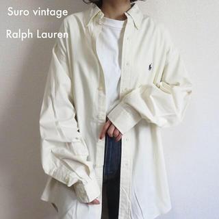 POLO RALPH LAUREN - 90s ラルフローレン 刺繍ロゴ 白シャツ オフホワイト 古着女子