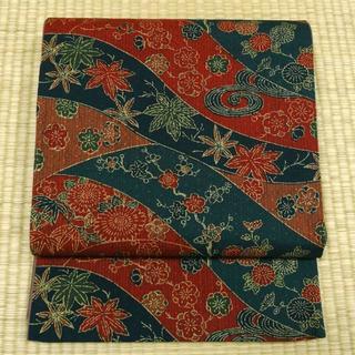 渋めの赤と青の織りに草花 洒落袋帯(帯)