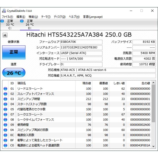 日立(ヒタチ)の正常 日立 HDD250GB SATA 2.5インチ 7ミリ 10752H スマホ/家電/カメラのPC/タブレット(PCパーツ)の商品写真