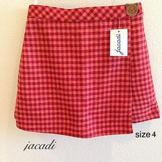 ジャカディ(Jacadi)のjacadi  size 4 / 104㎝ オレンジチェックスカート付きパンツ(スカート)