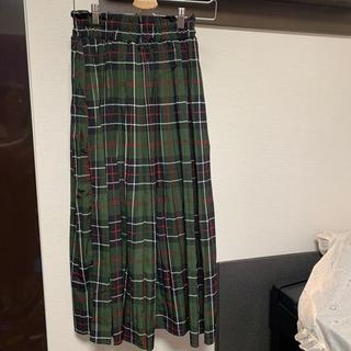 グリーンチェック柄ロングスカート