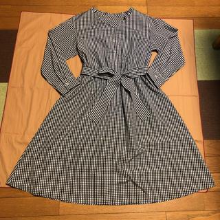 Couture Brooch - 【美品】クチュールブローチ:フェイクパールボタン ギンガムチェック ワンピース