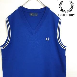 FRED PERRY - 美品 FRED PERRY ワンポイント 刺繍ロゴ ニット ベスト サイドライン
