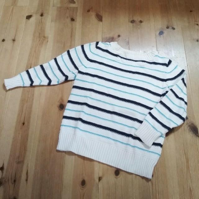 GU(ジーユー)の〈120〉GU ボーダー ニット キッズ/ベビー/マタニティのキッズ服男の子用(90cm~)(Tシャツ/カットソー)の商品写真