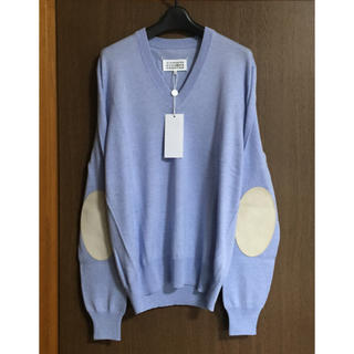 Maison Martin Margiela - L新品 メゾン マルジェラ エルボーパッチ V ニット セーター ブルー メンズ