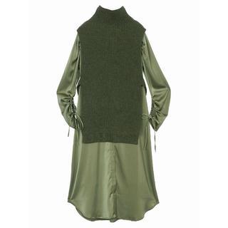 Ameri VINTAGE - 3日間限定/sサイズ/vest layered shirt dress