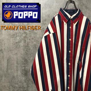 トミーヒルフィガー☆オールド刺繍ロゴクラシックボールドストライプシャツ 90s