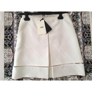 フェンディ(FENDI)のフェンディ  シルクホワイトスカート チュール切り替え付き(ひざ丈スカート)