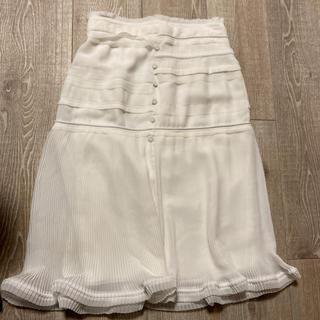 カルヴェン(CARVEN)のCARVEN  ホワイト プリーツスカート(ひざ丈スカート)