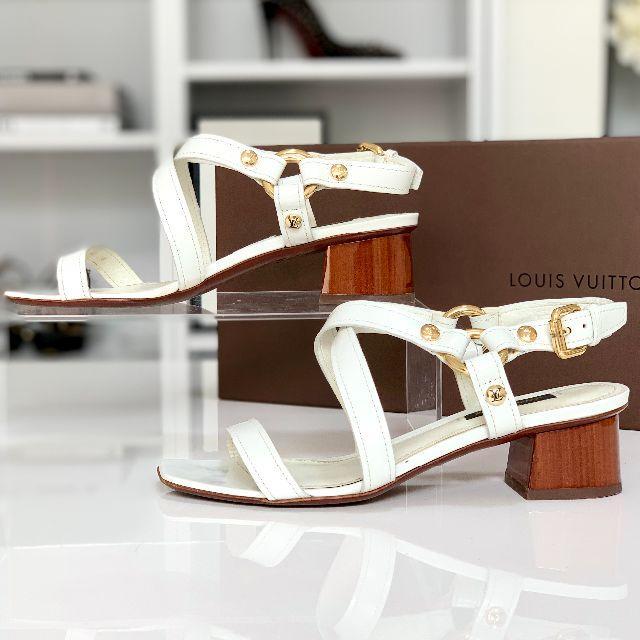 LOUIS VUITTON(ルイヴィトン)の1850 美品 ヴィトン レザー ヒールサンダル 白 レディースの靴/シューズ(サンダル)の商品写真