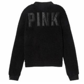 ヴィクトリアズシークレット(Victoria's Secret)のVS PINK 背中ロゴ ジャケット ブルゾン 黒(パーカー)