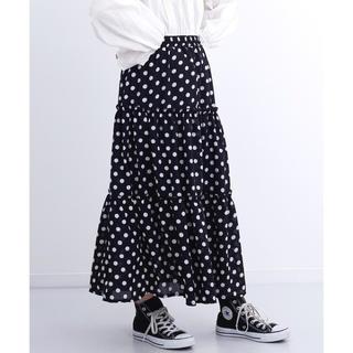 merlot - merlot ドット柄ティアード切替スカート