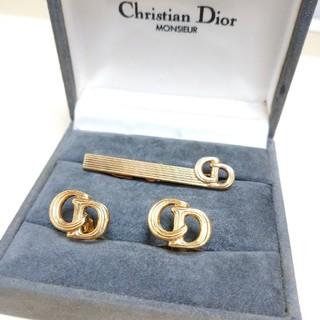 クリスチャンディオール(Christian Dior)の【Christian Dior】ゴールドカラーのカフス&タイピン(カフリンクス)