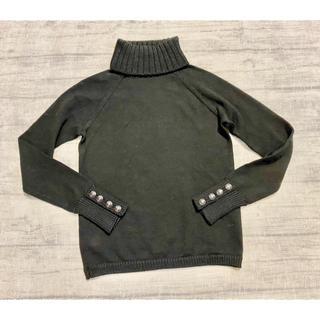 MACPHEE - MACPHEE 袖口ボタンのハイネックニット 黒 1