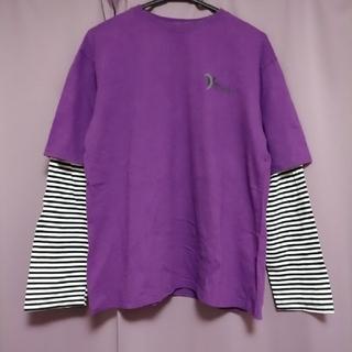 韓国 重ね着風 ボーダー ロンT(Tシャツ(長袖/七分))