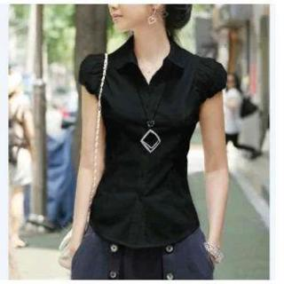 パフスリーブ ブラウス 半袖 オフィス シャツ ブラック Lサイズ(シャツ/ブラウス(半袖/袖なし))