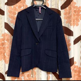 アオキ(AOKI)のAOKI 青木 レディース  スーツ ジャケット チェック ネイビー 秋 冬(テーラードジャケット)