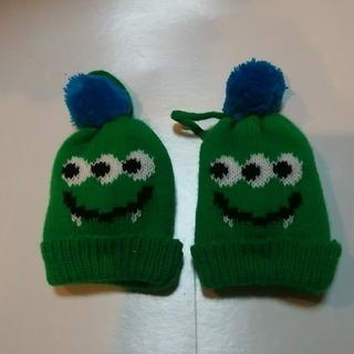 カルディ(KALDI)のカルディ ハロウィンモンスターニット帽グリーン2個セット(ぬいぐるみ)