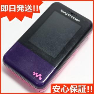 ソニー(SONY)の良品中古 W65S Xmini パープルピンク 白ロム(携帯電話本体)