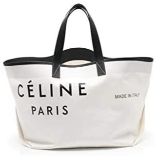 celine - (セリーヌ) CELINE メイドイン トートバッグ キャンバス レザー 白 黒