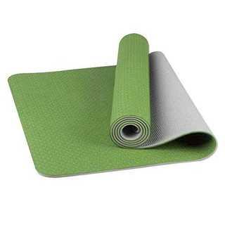 グリーン+グレーヨガマット トレーニングマット エクササイズマット 厚さ8mm (ヨガ)