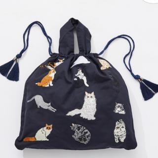 ear PAPILLONNER - 20AW☆ ear 猫刺繍巾着トートバッグ イアパピヨネ