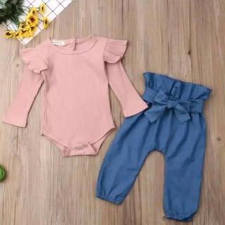petit main - 【新品】韓国子ども服 肩フリルリブロンパース デニム風パンツ リボン セット