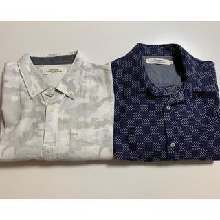 シャツ 紳士 半袖 羽織り 迷彩柄 アイボリー