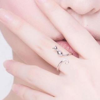 【猫リング】レディース 指輪 かわいい 猫 ねこ シンプル シルバー