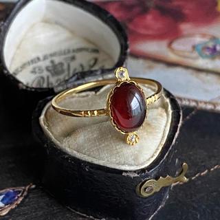 アンティーク ジョージアン時代 ガーネット オールドカットダイヤモンド (リング(指輪))