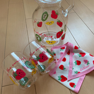 キャスキッドソン スカーフ いちご イチゴ タンブラー グラス&水差し