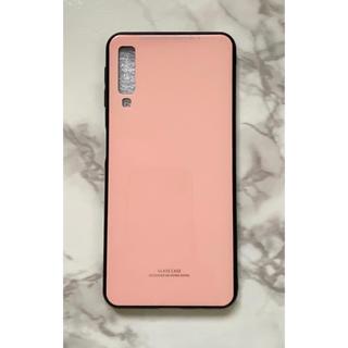 ギャラクシー(Galaxy)のシンプル耐衝撃背面9Hガラスケース GalaxyA7 楽天モバイル ピンク(Androidケース)