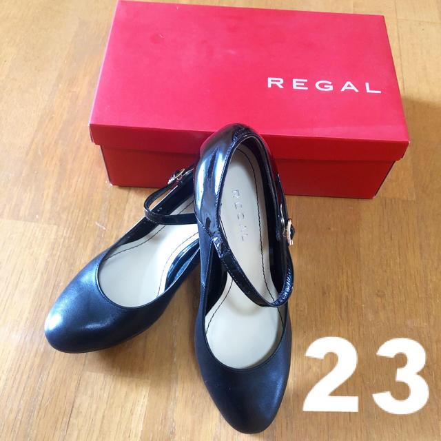 REGAL(リーガル)の未使用 REGAL ♡ パンプス 黒 ストラップ ヒール 23cm レディースの靴/シューズ(ハイヒール/パンプス)の商品写真