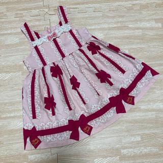 Shirley Temple - シャーリーテンプル ワンピース ジャンパースカート ピンク リボン レース 90
