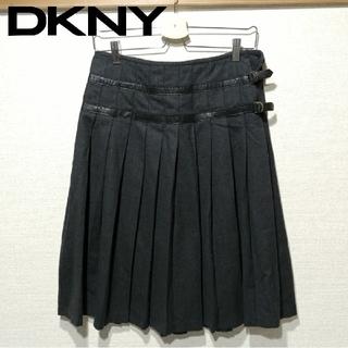 ダナキャランニューヨーク(DKNY)の美品 DKNY プリーツスカート ラップスカート風 ダナキャラン グレー(ひざ丈スカート)