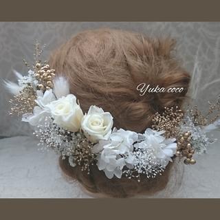 ドライフラワー ヘッドドレス 髪飾り❁︎成人式 前撮り 結婚式 振袖 白無垢(ヘッドドレス/ドレス)