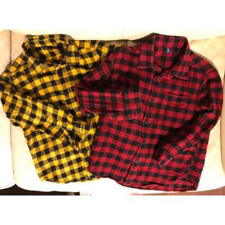 ユニクロ(UNIQLO)のほぼ新品⭐️チェックシャツ ネルシャツ  2枚セット 110 (ブラウス)