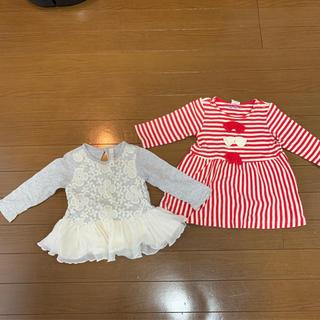 ムージョンジョン(mou jon jon)の女の子 80サイズ トップス2枚セット(Tシャツ)