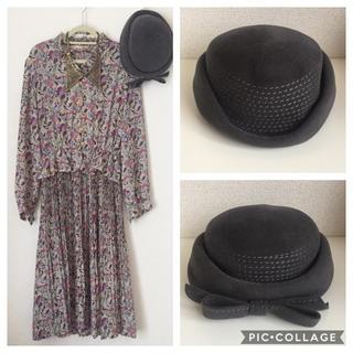 Grimoire - vintage 帽子 グレー  リボン