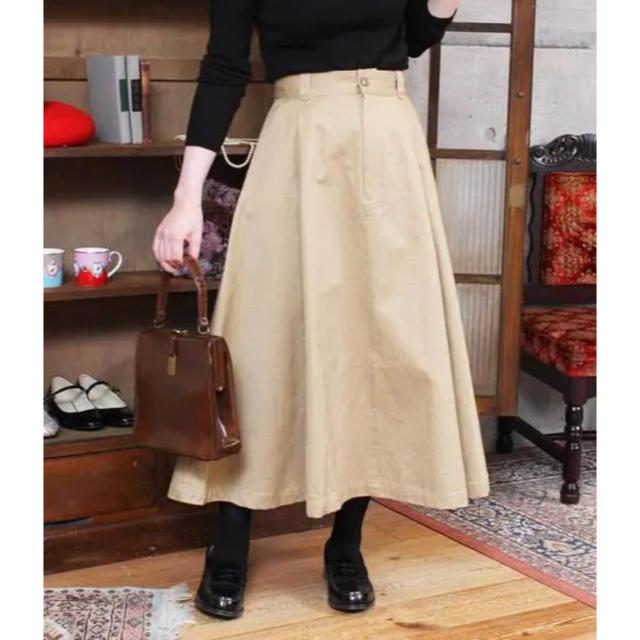 Dot&Stripes CHILDWOMAN(ドットアンドストライプスチャイルドウーマン)のチノ 後ろレースアップ フレアースカート レディースのスカート(ロングスカート)の商品写真
