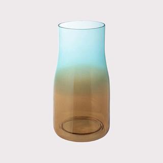 フランフラン(Francfranc)の新品未使用 Francfranc フィオリニ ガラスベース L ブルー×イエロー(花瓶)