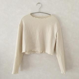 dholic - dholic クロップドウェーブTシャツ ラウンドネック クリーム色 長袖