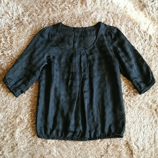 アンタイトル(UNTITLED)のUNTITLE 黒シースルー チェック トップス(シャツ/ブラウス(半袖/袖なし))