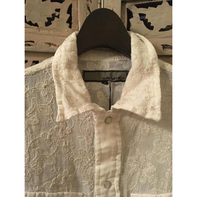 AYUITE(アユイテ)の新品 AYUITE アユイテ リネン刺繍シャツ ベージュ 1タグ付き メンズのトップス(シャツ)の商品写真